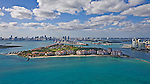 Fisher Island Dodge Island Government Cut Southpoint MacArthur Causeway Miami Beach Miami Florida helicopter aerial
