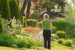 Woman watering flower bed.