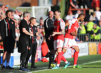 Fleetwood Town&rsquo;s Gethin Jones  makes way for Fleetwood Town&rsquo;s Nathan Pond <br /> <br /> Photographer Leila Coker/CameraSport<br /> <br /> The EFL Sky Bet League One - Fleetwood Town v Walsall - Saturday 5th May 2018 - Highbury Stadium - Fleetwood<br /> <br /> World Copyright &copy; 2018 CameraSport. All rights reserved. 43 Linden Ave. Countesthorpe. Leicester. England. LE8 5PG - Tel: +44 (0) 116 277 4147 - admin@camerasport.com - www.camerasport.com