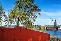 Kullerstenar vid plank på Mariaberget med utsikt över Riddarfjärden med Stadshuset