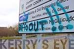'BIFFO OUT': One of the 'Biffo Out' messages which have appeared on road signs around north Kerry.