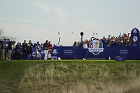 Francesco Molinari (Team Europe) on the 16th during the singles matches at the Ryder Cup, Le Golf National, Ile-de-France, France. 30/09/2018.<br /> Picture Fran Caffrey / Golffile.ie<br /> <br /> All photo usage must carry mandatory copyright credit (© Golffile | Fran Caffrey)