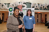 Chair Angela Singhate, Justin Griggs, Head of Policy and Development at the National Association of Local Councils, and Vice-Chair Emma Sweeney at the launch of the campaign for a Queen's Park Community Council at the Beethoven Centre, West London.