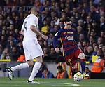 02.04.2016 Barcelona. La Liga day 31. Game between FC Barcelona agaisnt Real Madrid at Camp Nou. Picture show Leo Messi