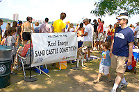 Welcome sign for the Excel Energy sand castle competition at Lake Calhoun. Aquatennial Beach Bash Minneapolis Minnesota USA