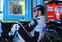 Apr 17, 2009; Avondale, AZ, USA; NASCAR Sprint Cup Series driver Jimmie Johnson during practice for the Subway Fresh Fit 500 at Phoenix International Raceway. Mandatory Credit: Mark J. Rebilas-