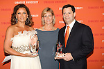 Vanessa Williams with Icon of Style Award, Ann Clarke - Dean of College of Visual and Performing Artis, and Frank Bisignano CAO of JPMorgan Chase with 2011 Dean's Award of Distinction, pose together at the Syracuse University 2011 Fashion Show, at One Chase Plaza, May 19 2011.