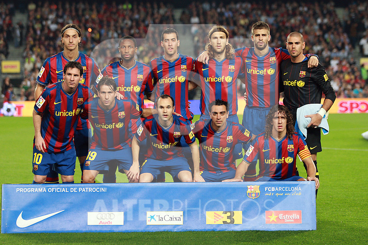 Football Season 2009-2010. Barcelona's team shot Zlatan Ibrahimovic, Seydou Keita, Sergio Busquets, Chygrynskiy, Gerard Pique, Victor Valdes, Lionel Messi, Maxwell, Andres Iniesta, Xavi Hernandez, Carles Puyol, during their Spanish first division soccer match at Camp Nou stadium in Barcelona October 25, 2009