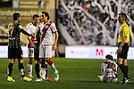 Rayo Vallecano´s Jose Raul Baena and Malaga CF´s Sergio Paulo Barbosa Valente during 2014-15 La Liga match between Rayo Vallecano and Malaga CF at Rayo Vallecano stadium in Madrid, Spain. March 21, 2015. (ALTERPHOTOS/Luis Fernandez)