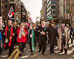 February 11, 2017. Raleigh, North Carolina.<br /> <br /> Religious leaders, including Lisa Sharon Harper, red coat, 2nd from left, march through downtown Raleigh. <br /> <br /> Thousands gathered in downtown Raleigh for the annual HKONJ People's Assembly, a civil rights march tied to the Moral Monday movement. Supporters from around the state gathered to march and speak out against nationwide attacks on civil rights and the Trump administration.<br /> <br /> Jeremy M. Lange for The New York Times
