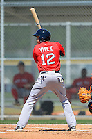 Boston Red Sox infielder Kolbrin Vitek #12 during a minor league Spring Training game against the Baltimore Orioles at Buck O'Neil Complex on March 25, 2013 in Sarasota, Florida.  (Mike Janes/Four Seam Images)
