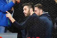 Atletico de Madrid's Saul Niguez (r) with the Spanish actor Dani Martinez during Madrid Open Tennis 2016 match.May, 6, 2016.(ALTERPHOTOS/Acero) /NortePhoto