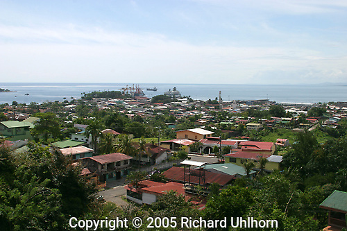 A view from a hilltop of the port city of Limon, Costa Rica which is considered the  most important Costa Rican port on the Caribbean.