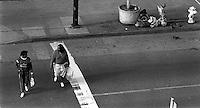 Street scene, homeless man, 1987.   &amp;#xA;<br />