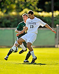 22 September 2008: Colgate University Raiders' forward Steven Miller, a Sophomore from Ivyland, PA, in action against the University of Vermont Catamounts at Centennial Field, in Burlington, Vermont. The Raiders edged out the Catamounts 2-1, handing the Catamounts their first home loss of the 2008 season. ..Mandatory Photo Credit: Ed Wolfstein Photo