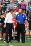 16 May 2015: New York head coach Giovanni Savarese (VEN) (left) with Carolina head coach Colin Clarke (NIR) (right). The Carolina RailHawks hosted the New York Cosmos at WakeMed Stadium in Cary, North Carolina in a North American Soccer League 2015 Spring Season match. The game ended in a 2-2 tie.