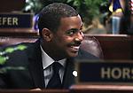Nevada Majority Leader Steven Horsford, D-North Las Vegas, talks on the Senate floor before opening ceremonies at the Legislature in Carson City, Nev. on Monday, Feb. 7, 2011. .Photo by Cathleen Allison