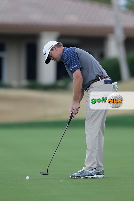 Patton Kizzire (USA) takes his putt on the 17th green during Thursday's Round 1 of the 2017 CareerBuilder Challenge held at PGA West, La Quinta, Palm Springs, California, USA.<br /> 19th January 2017.<br /> Picture: Eoin Clarke | Golffile<br /> <br /> <br /> All photos usage must carry mandatory copyright credit (&copy; Golffile | Eoin Clarke)