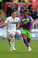 Connor Roberts of Swansea City battles with Niclas Eliasson of Bristol City during the Sky Bet Championship match between Swansea City and Bristol City at the Liberty Stadium, Swansea, Wales, UK. Saturday 25 August 2018