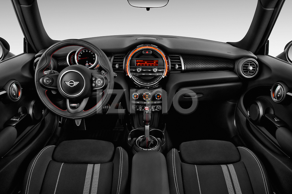 Stock photo of straight dashboard view of2015 MINI Mini John Cooper Works 3 Door Hatchback Dashboard