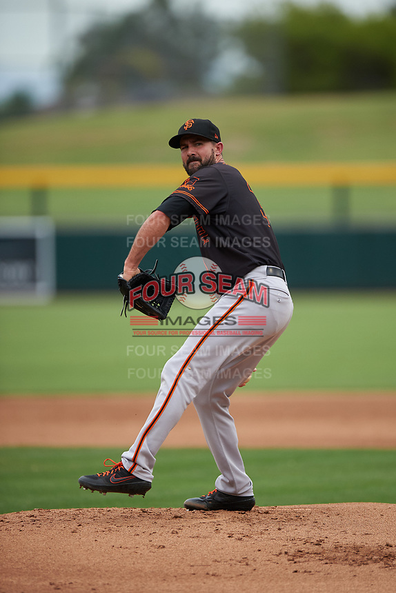 AZL Giants Black starting pitcher Nick Vincent (32) during a rehab assignment in an Arizona League game against the AZL Athletics Gold on July 12, 2019 at Hohokam Stadium in Mesa, Arizona. The AZL Giants Black defeated the AZL Athletics Gold 9-7. (Zachary Lucy/Four Seam Images)