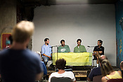 July 30, 2008. Durham, NC.. Meeting of the Peak Oil group at the Carolina Biofuels campus.. Members discussed the efforts of local groups, such as Carolina Biodiesel and Piedmont Biofuels, that have created homegrown movements to expand the use of bio-fuels and alternative energy sources.. A panel lead the discussion of alternative fuels. From left, Tim, of Piedmont Biofuels, Barry Jones, Carolina Biofuels, Leif Forer, Piedmont Biofuels, and Marc Dreyfors, Carolina Biofuels.