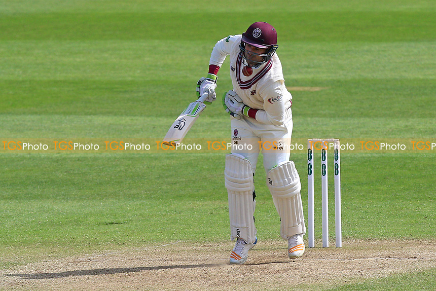 Dean Elgar of Somerset is struck by a Jamie Porter delivery during Somerset CCC vs Essex CCC, Specsavers County Championship Division 1 Cricket at The Cooper Associates County Ground on 15th April 2017
