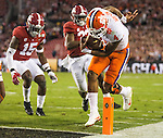 Clemson quarterback Deshaun Watson scores against Alabama in the first half of the 2017 College Football Playoff National Championship in Tampa, Florida on January 9, 2017.  Photo by Mark Wallheiser/UPI