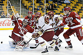 Kyle Richter (Harvard - 33), Alex Biega (Harvard - 3), Cam Atkinson (BC - 13), Ben Smith (BC - 12), David Valek (Harvard - 22) - The Boston College Eagles defeated the Harvard University Crimson 6-0 on Monday, February 1, 2010, in the first round of the 2010 Beanpot at the TD Garden in Boston, Massachusetts.