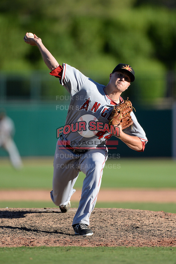 Mesa Solar Sox pitcher Mike Morin (44), of the Los Angeles Angels of Anaheim organization, during an Arizona Fall League game against the Glendale Desert Dogs on October 8, 2013 at Camelback Ranch Stadium in Glendale, Arizona.  The game ended in an 8-8 tie after 11 innings.  (Mike Janes/Four Seam Images)