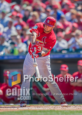 6 March 2016: St. Louis Cardinals infielder Matt Adams in action during a Spring Training pre-season game against the Washington Nationals at Roger Dean Stadium in Jupiter, Florida. The Nationals defeated the Cardinals 5-2 in Grapefruit League play. Mandatory Credit: Ed Wolfstein Photo *** RAW (NEF) Image File Available ***