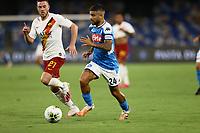 5th July 2020; Stadio San Paolo, Naples, Campania, Italy; Serie A Football, Napoli versus Roma; Lorenzo Insigne of Napoli breaks forward away from Veretout of Roma