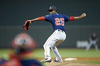 Salem Red Sox relief pitcher Joan Martinez (25) in action against the Winston-Salem Dash at BB&T Ballpark on April 21, 2018 in Winston-Salem, North Carolina.  The Dash walked-off the Red Sox 4-3.  (Brian Westerholt/Four Seam Images)