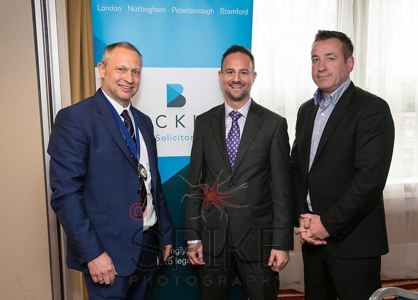 Nottingham City Business Club President Mark Deakin, James Coppinger of sponsors Buckles and speaker Mike Sassi of the Nottingham Post