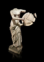 Roman statue of Aphrodite holding a shield. Marble. Perge. 2nd century AD . Antalya Archaeology Museum; Turkey. Against a black background.