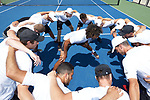 Skander Mansouri (center) of the Wake Forest Demon Deacons leads his team in a chant prior to taking on the South Carolina Gamecocks during Round Two of the 2018 NCAA Men's Tennis Championship at the Wake Forest Tennis Center on May 13, 2018 in Winston-Salem, North Carolina.  The Demon Deacons defeated the Gamecocks 4-1.  (Brian Westerholt/Sports On Film)