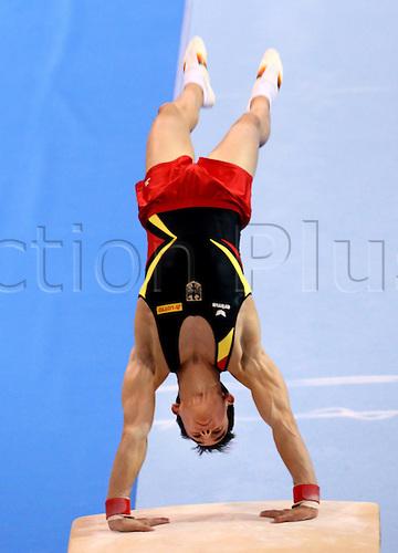 30.11.2012. Stuttgart, Germany.  Vault Christopher Jursch ger Gymnastics World Cup