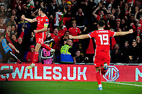 Gareth Bale of Wales celebrates scoring his side's second goal during the UEFA Euro 2020 Qualifier match between Wales and Azerbaijan at the Cardiff City Stadium in Cardiff, Wales, UK. Friday 06, September 2019
