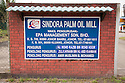 A sign of The Sindora Palm Oil Mill, owned by Kulim. The company is green certified by the Roundtable on Sustainable Palm Oil (RSPO) for its environmental, economic, and socially sustainable practices. Johor Bahru, Malaysia