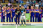 GER - Luebeck, Germany, February 07: During the prize giving ceremony at the Final 4 on February 7, 2016 at Hansehalle Luebeck in Luebeck, Germany. (Photo by Dirk Markgraf / www.265-images.com) *** Local caption *** Best Players of the Final4: (L-R) Lisa-Marie Schuetze #19 of Duesseldorfer HC, Benedikt Fuerk #12 of HTC Uhlenhorst Muehlheim