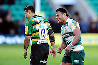 George Pisi of Northampton Saints and Manu Tuilagi of Leicester Tigers share a joke after the match. Aviva Premiership match, between Northampton Saints and Leicester Tigers on April 16, 2016 at Franklin's Gardens in Northampton, England. Photo by: Patrick Khachfe / JMP
