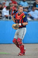State College Spikes catcher Adam Lewis #21 during a game against the Batavia Muckdogs on June 30, 2013 at Dwyer Stadium in Batavia, New York.  State College defeated Batavia 7-2.  (Mike Janes/Four Seam Images)