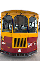 Tourist trolley.  Clearwater Beach Tampa Bay Area Florida USA