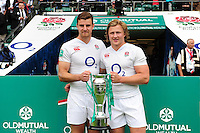 Ollie Devoto and Tommy Taylor of England pose with the Old Mutual Wealth Cup after the match. Old Mutual Wealth Cup International match between England and Wales on May 29, 2016 at Twickenham Stadium in London, England. Photo by: Patrick Khachfe / Onside Images