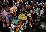 ELMONT, NY - JUNE 09: Fans take the escalator to the grand stands during Belmont Stakes Day at Belmont Park on June 9, 2018 in Elmont, New York. (Photo by Scott Serio/Eclipse Sportswire/Getty Images)