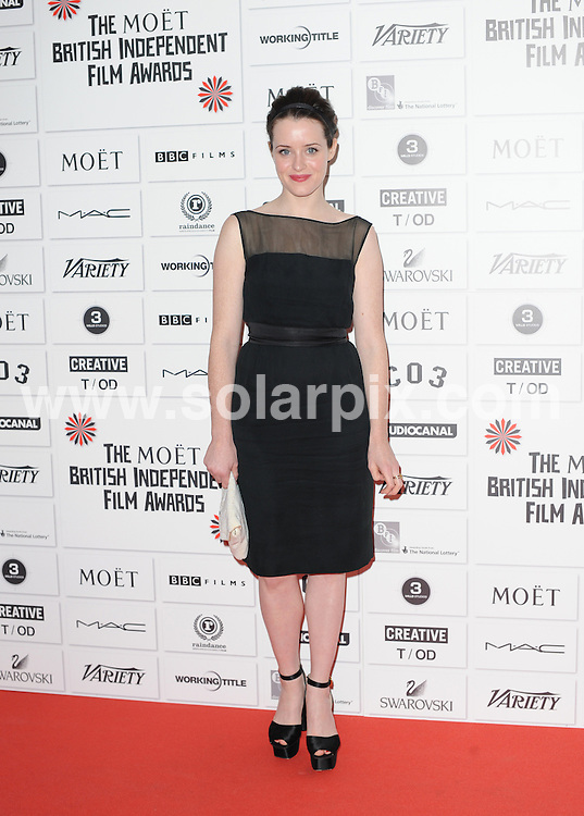 **ALL ROUND PICTURES FROM SOLARPIX.COM**                                             **WORLDWIDE SYNDICATION RIGHTS**                                                                                   Stars attend The Moet British Independent Film Awards at Old Billingsgate Market on December 4, 2011 in London.                                                                            .This pic:    Claire Foy                                                                                          JOB REF:   14266     LNJ       DATE:   05.12.11                                                         **MUST CREDIT SOLARPIX.COM OR DOUBLE FEE WILL BE CHARGED**                                                                      **MUST AGREE FEE BEFORE ONLINE USAGE**                               **CALL US ON: +34 952 811 768 or LOW RATE FROM UK 0844 617 7637**