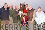 PRESENNTATION: Jimmy Browne with his grandson seasmus Lucey who presented a special presentation to Frank Thornton at the Ballyheigue Coursing on Sunday to mark his retirement from controller of coursing, L-r: Tom Joe Hayes, Brendan Purcell, Frank Thornton, Seamus Lucey, Paul Horan(judge), Jimmy Browne and Teresa Reidy......... ....................