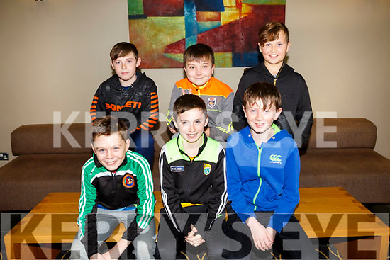 Enjoying the Churchill GAA Awards at Ballyroe Heights Hotel on Sunday were front l-r Josh Elvins, Donagh Murphy,  Bill Roth Back l-r Dara O'Connor, Daragh Guiney and Rory Boyd