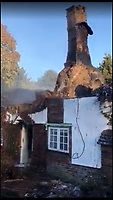 BNPS.co.uk (01202 558833)<br /> Pic :  DWFRS/BNPS<br /> <br /> The remains today.<br /> <br /> More than 50 firefighters battled to extinguish a huge blaze at the idyllic thatched holiday cottage in Affpuddle.<br /> <br /> Peony Cottage, in the picturesque village of Affpuddle in Dorset, caught fire at around 7.20pm last night (Thurs).<br /> <br /> The five-bed property had been accommodating two families, thought to be on holiday from America, although no one was hurt in the fire.