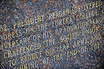 The dedication on a statue of a bust of former U.S. President Ronald Reagan on the Eureka College campus, the alma matter of President Reagan, is seen in Eureka, Illinois on March 27, 2009.